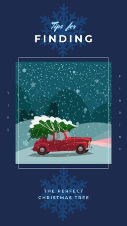 Car delivering Christmas tree Instagram Story Modelo de Design