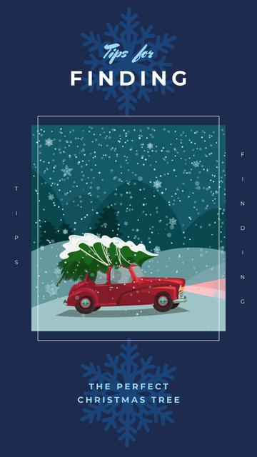 Szablon projektu Car delivering Christmas tree Instagram Story