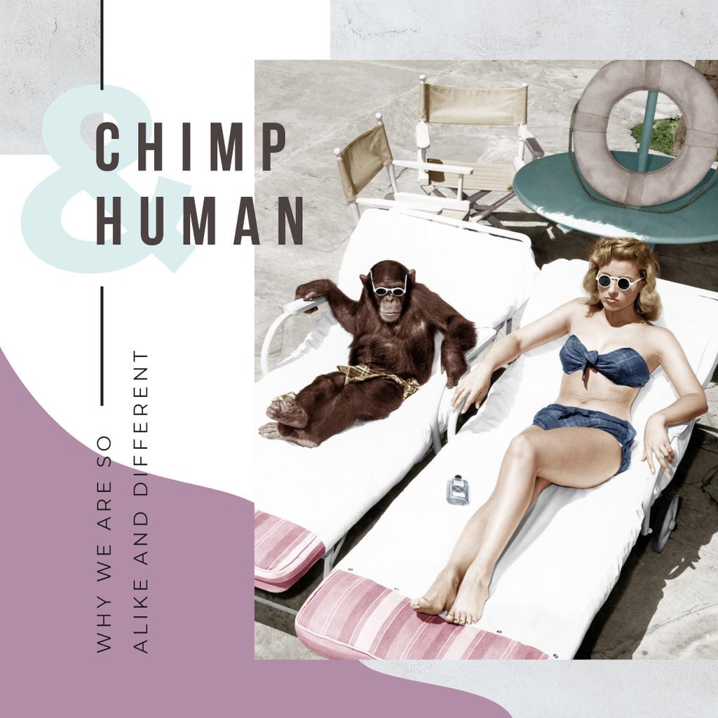 Woman and chimpanzee sunbathing — Create a Design