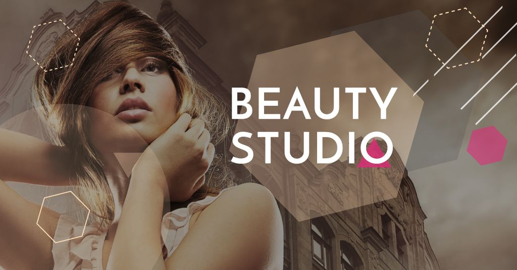 Template di design Beauty Studio promotion with Attractive Woman Facebook AD