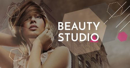 Beauty Studio promotion with Attractive Woman Facebook AD Modelo de Design