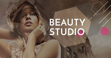 Szablon projektu Beauty Studio promotion with Attractive Woman Facebook AD