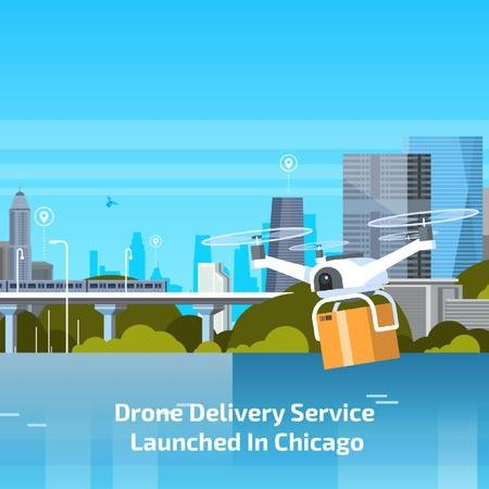 Drone delivery service Animated Post Modelo de Design