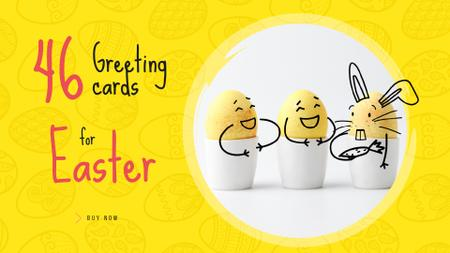 Greeting Cards Offer with cute Easter Eggs Full HD video Modelo de Design