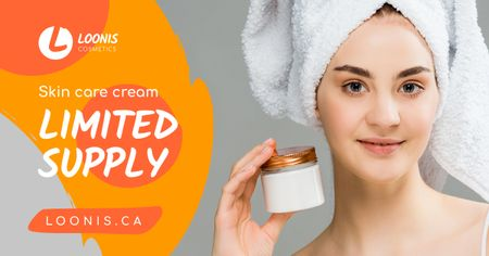 Cosmetics Sale Woman Holding Cream Facebook AD – шаблон для дизайну