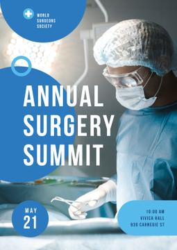 Doctor Wearing Mask in Surgery in Blue | Poster Template
