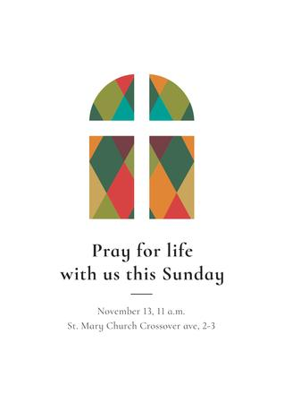 Invitation to Pray with Church Window Poster Design Template