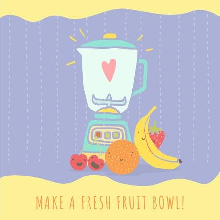 Raw fruits with kitchen blender Animated Post Modelo de Design