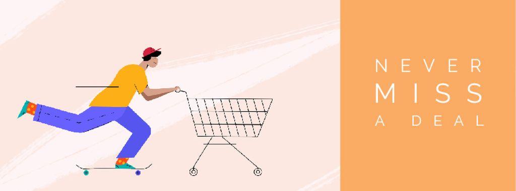 Man pushing shopping cart — Modelo de projeto