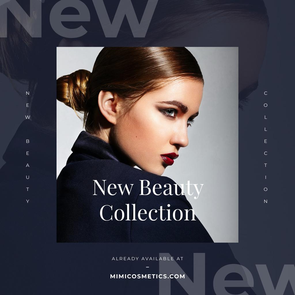 Cosmetics Ad Young Attractive Woman | Instagram Ad Template — Создать дизайн