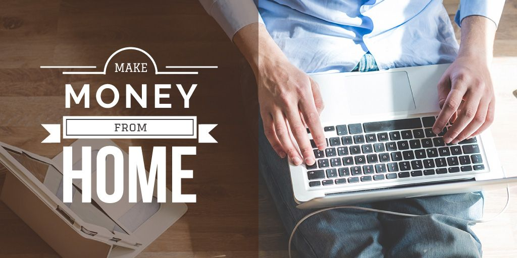 Make money from home banner with man typing on laptop — Crea un design