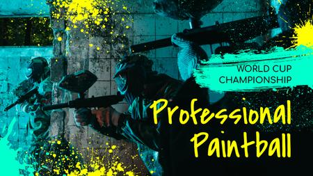 Plantilla de diseño de Paintball Championship Announcement People with Guns Youtube Thumbnail