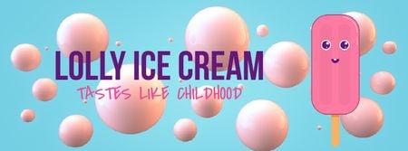 Plantilla de diseño de Melting cartoon ice cream Facebook Video cover