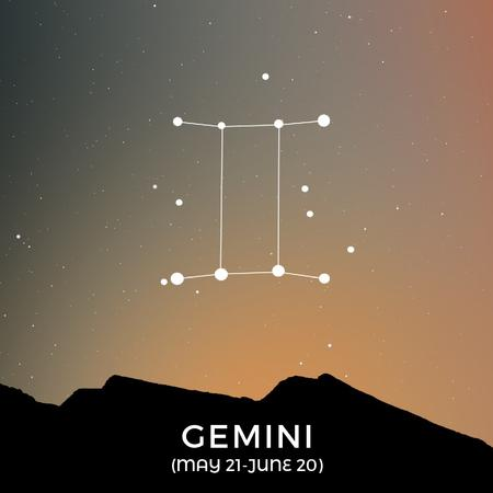 Plantilla de diseño de Night Sky with Gemini Constellation Animated Post