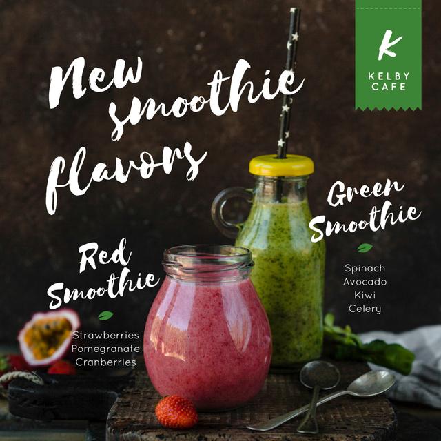 Ontwerpsjabloon van Instagram van Healthy Nutrition Offer with Smoothie Bottles