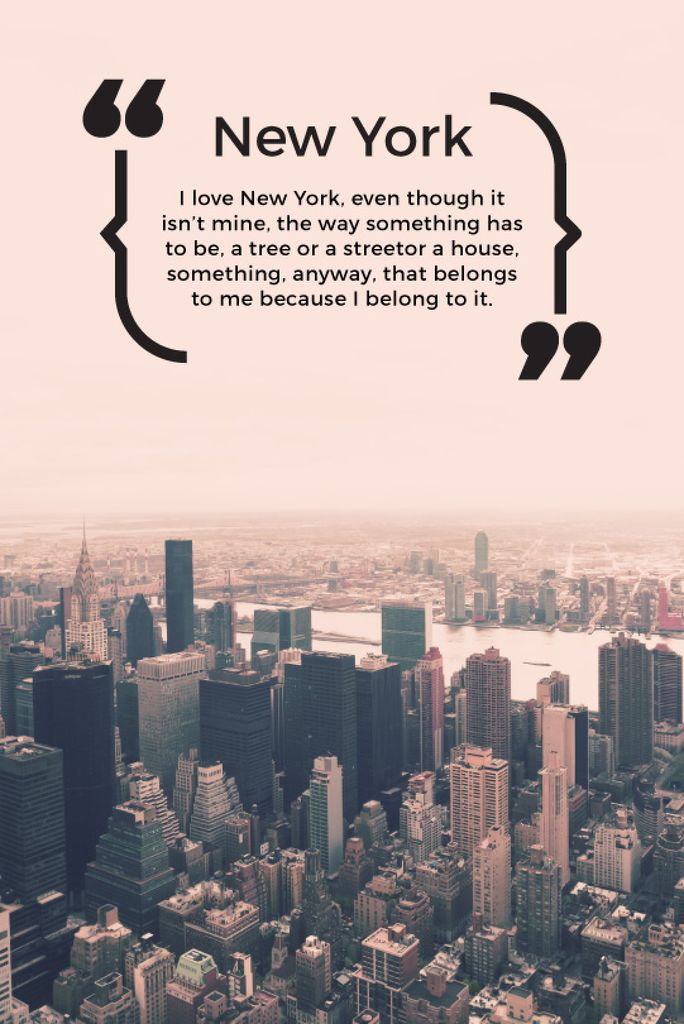New York Inspirational Quote on City View | Tumblr Graphics Template — Créer un visuel