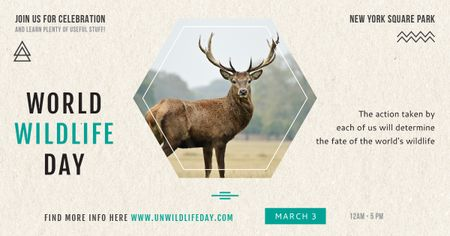 Plantilla de diseño de World wildlife day with Deer in Forest Facebook AD