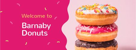Delicious glazed Donuts Facebook cover Modelo de Design