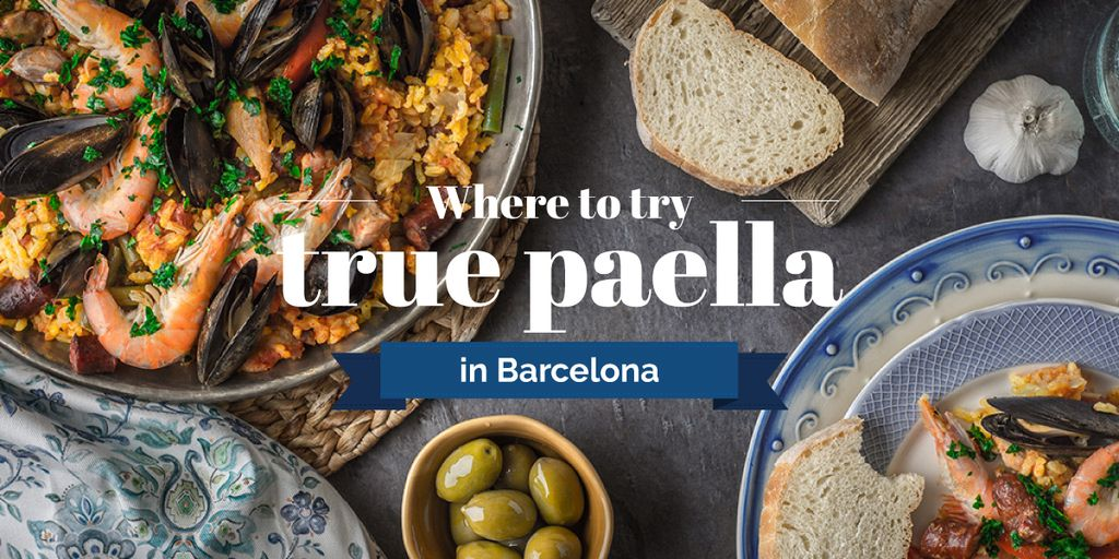 Spanish paella Dish on Table Image – шаблон для дизайна