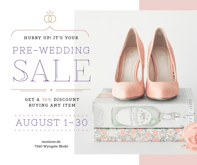 Ontwerpsjabloon van Facebook van Wedding Sale Pair of Pink Shoes