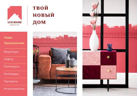 Modèle de visuel Luxury Home Offer with Interior in Pink - VK Universal Post