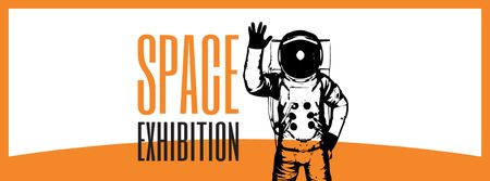 Modèle de visuel Space Exhibition Astronaut Sketch in Orange - Facebook cover