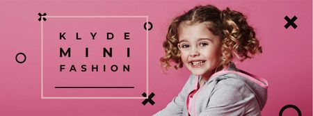 Kids' Clothes Ad with smiling Girl Facebook cover Modelo de Design