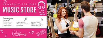 Music Store with Woman showing Guitar