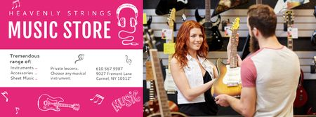 Ontwerpsjabloon van Facebook cover van Music Store with Woman showing Guitar