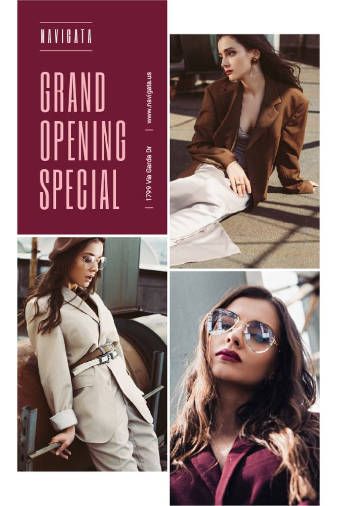 Fashion Store Grand Opening Announcement Stylish Woman — Maak een ontwerp