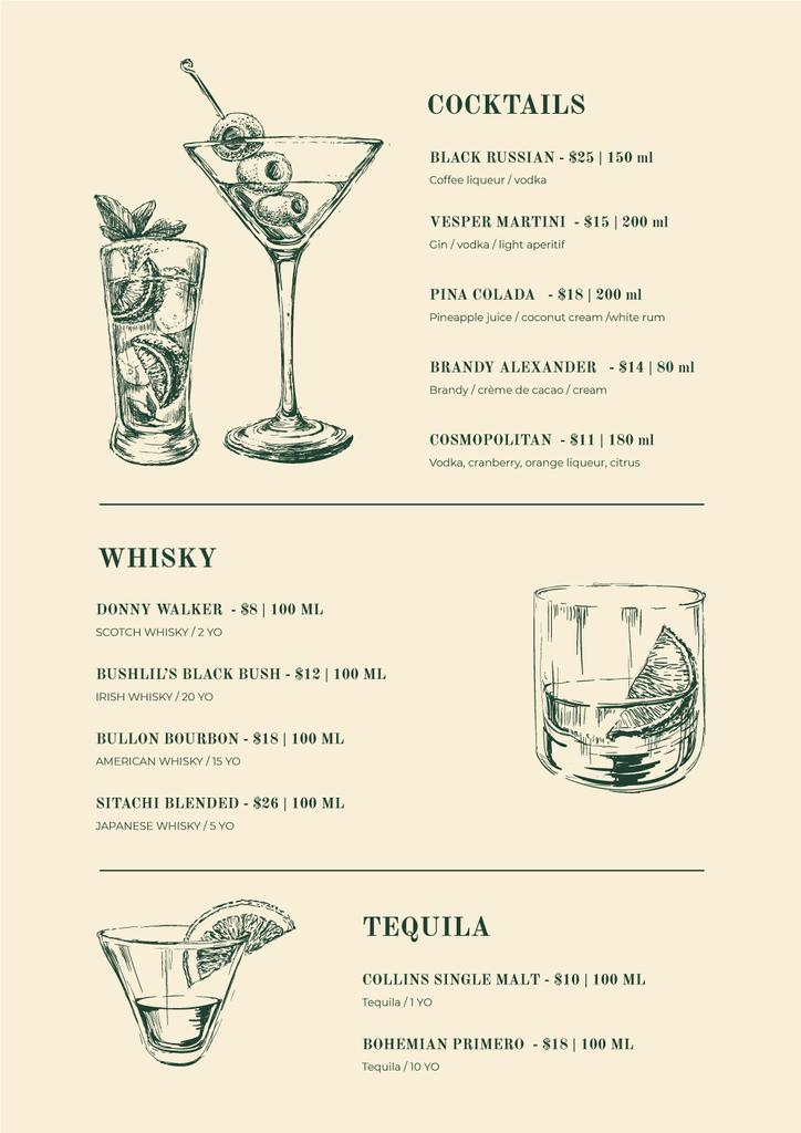 Bar Cocktails sketches — Створити дизайн