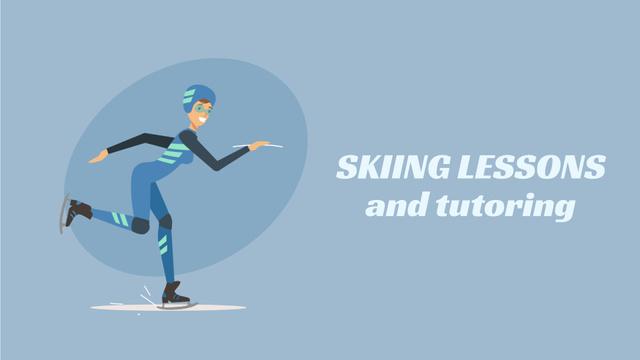 Ontwerpsjabloon van Full HD video van Woman Speed Skating in Blue
