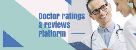 Reviews Platform ad with Team of Professional Doctors Facebook cover Modelo de Design