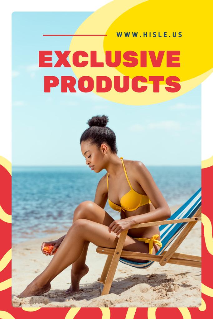 Woman applying sunscreen — Create a Design
