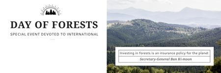 Template di design International Day of Forests Event Scenic Mountains Twitter