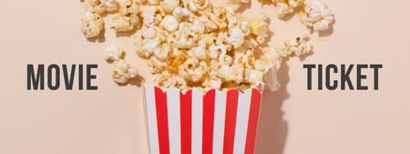 Movie with Sprinkled popcorn Ticketデザインテンプレート