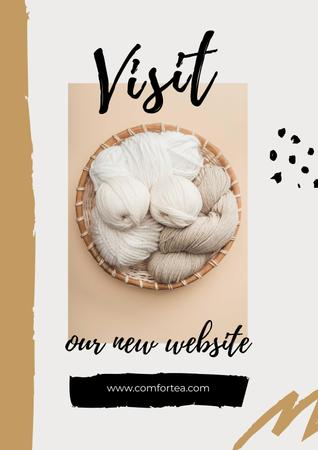 Website Ad with threads in basket Poster Modelo de Design
