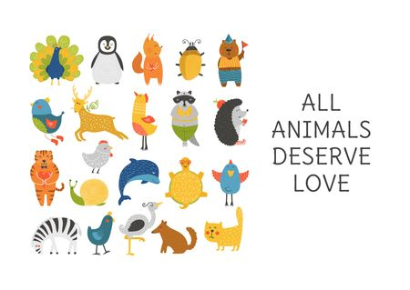 Animal Rights Concept Animals Icon Card Tasarım Şablonu