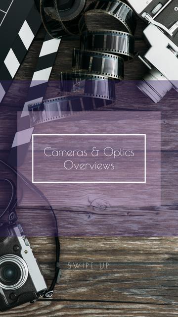Plantilla de diseño de Vintage Film Cameras on Wooden Board Instagram Story