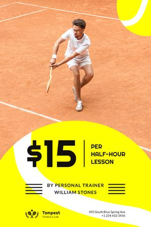 Plantilla de diseño de Tennis Club Ad with Player at the Court Pinterest