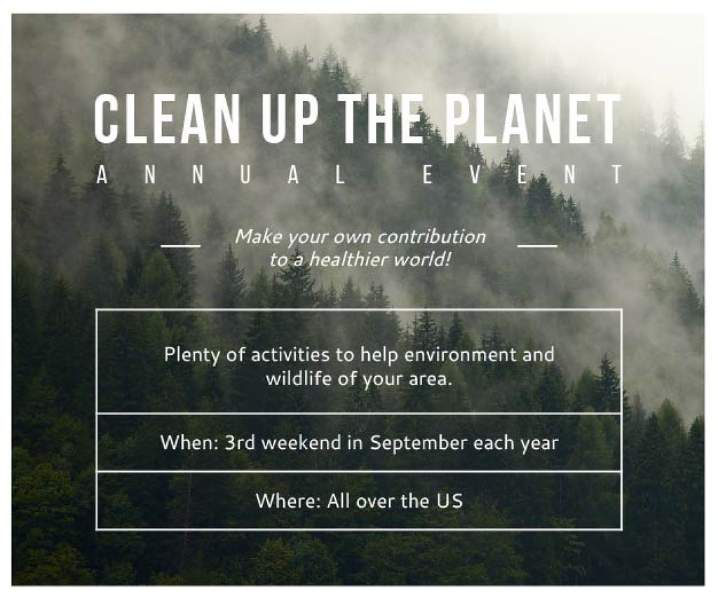 Clean up the Planet Annual event — Crea un design