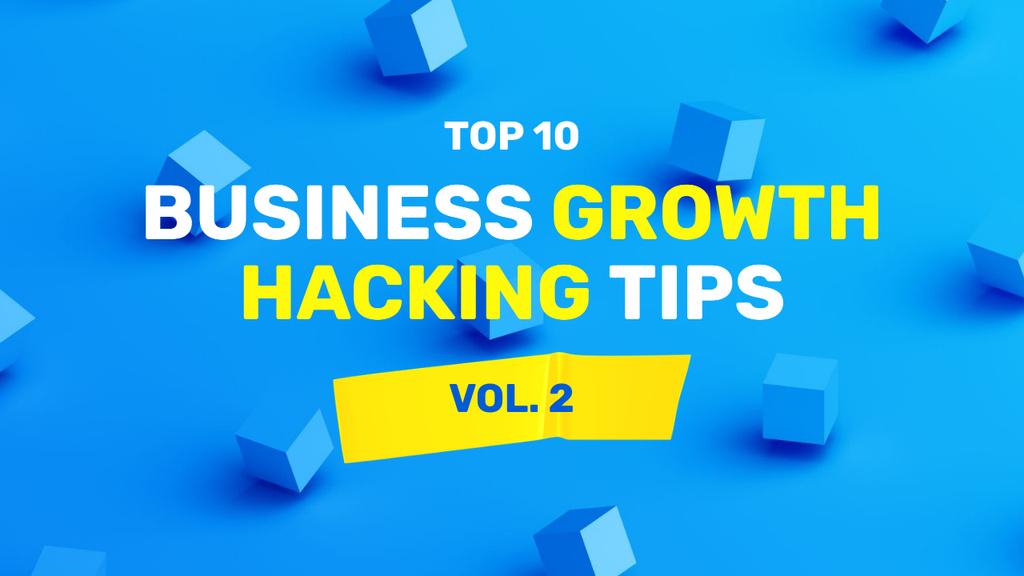 Business Growths tips in blue Youtube Thumbnail Modelo de Design