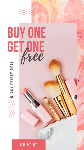 Black Friday Ad Makeup cosmetics set Instagram Story – шаблон для дизайна