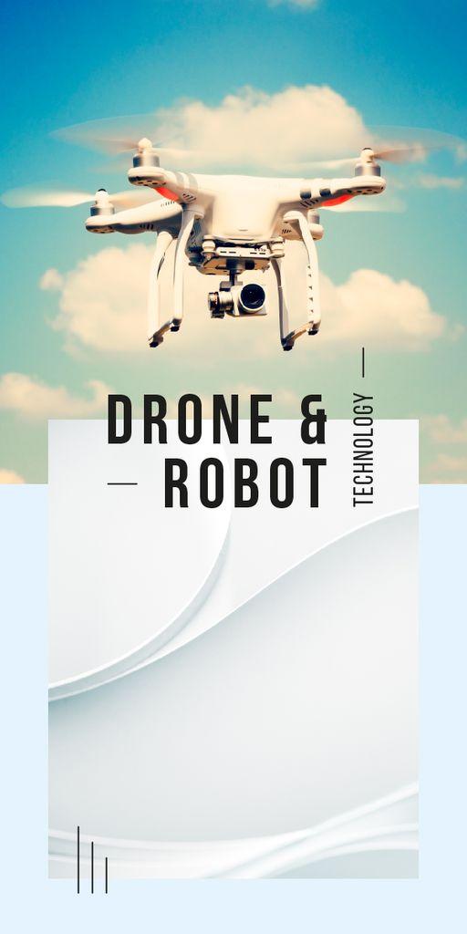 Plantilla de diseño de Drone flying in sky Graphic