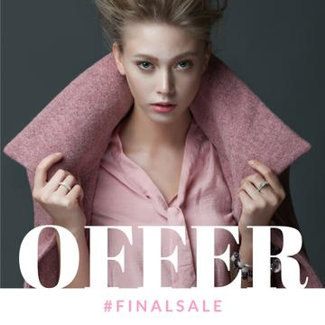 Fashion sale Ad with Woman in Pink Outfit