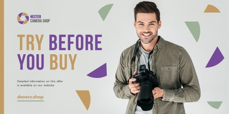 Plantilla de diseño de Photography Offer Man with Camera Image