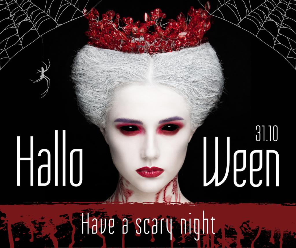 Halloween greeting with scary Woman —デザインを作成する