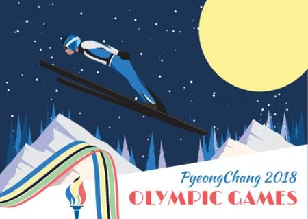 Winter Olympic Games with Skier Jumping Postcard – шаблон для дизайну