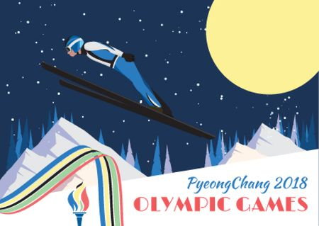 Ontwerpsjabloon van Postcard van Winter Olympic Games with Skier Jumping