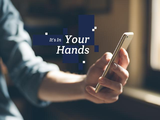 Mobile phone in hands Presentation Design Template
